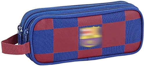 Estuche para lápices de fútbol para niños Teens Girl Stand con doble cremallera, bolsa de papelería de oficina escolar para adultos y niños, color azul 3