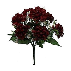 Artificial Bush Silk Flowers 7 Mini Mums Fall Bouquets Faux Fake Chrysanthemums #AFFTM