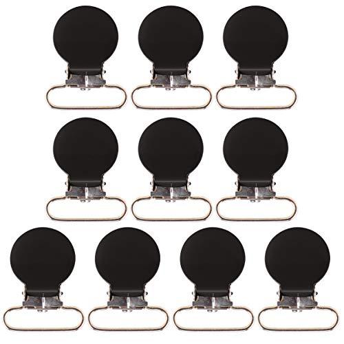 Artibetter 10Pcs Clips de Suspensión de Hierro Chupete Haciendo Sujetadores de Clip Correa de Correa de Forma Redonda Chupete Clips de Juguete Negro