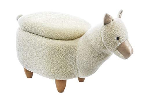 Kobolo Tierhocker Kinderhocker Hocker Alpaca - beige im Alpaka-Design mit Staufach