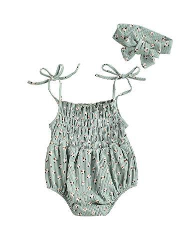 2 trajes para bebés y niñas, sin mangas, estampado floral + diadema con lazo