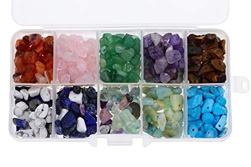witgift Halbedelsteine Perlen Natürliche Heilsteine Halbedelsteinperlen Bastelperlen Lose Perlen Energie Stein für Schmuck