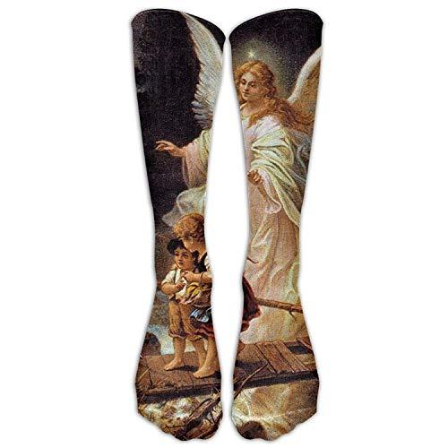 Guardian Angel With Children On Bridge Athletic Tube Stockings Women's Men's Classics Knee High Socks Sport Long Sock One Size