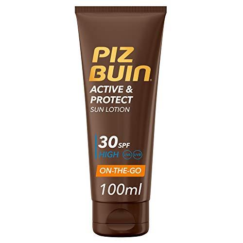Piz Buin, Active & Protect Loción Solar, Protección Alta SPF30, Formato Viaje On-the-Go, 100 ml