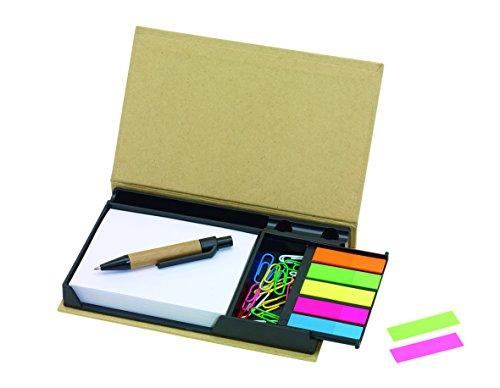 2 Stück Mini Büro Megaset mit Abreissblock, Büroklammern, Haftnotizen und Recycling Kugelschreiber von notrash2003