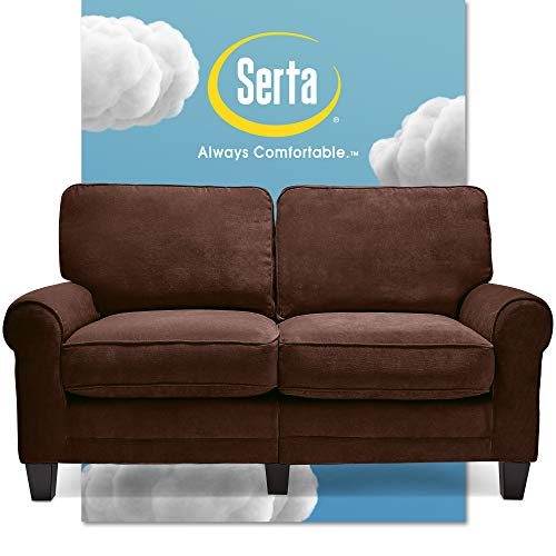 "Serta Copenhagen 61"" Loveseat - Pillowed Back Cushions and Rounded Arms, Durable Modern Upholstered Fabric - Brown"