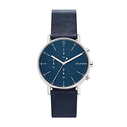 Skagen Herren Chronograph Quarz Armbanduhr mit Leder Armband SKW6463