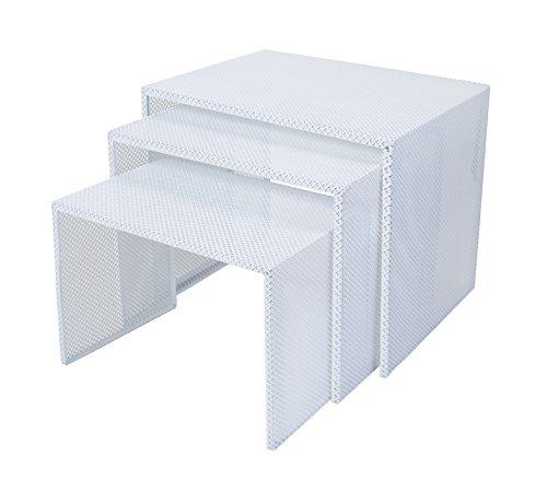 Tosel Zarina Tables Gigogne, Acero, Color Blanco, 48x 40x 40cm