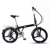 Bicicleta Plegable 20 Pulgadas, Bici Plegable para Hombres y Mujeres, Bicicleta Retro de Ciudad con Frenos de Disco Dobles de Velocidad Variable para Trabajo Ligero