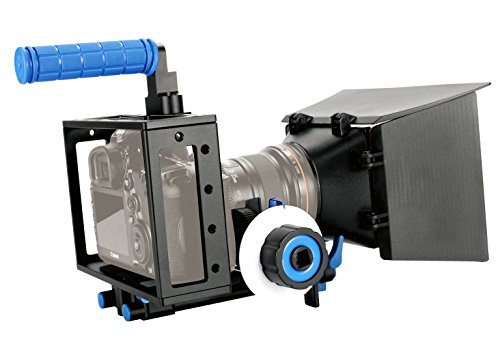 SunSmart Pro 5D Mark II Rig Cage+Top Handle+15mm Aluminum Rod Block Plate+Follow Focus+Matte Box for DSLR Camera/Video and Camcorders