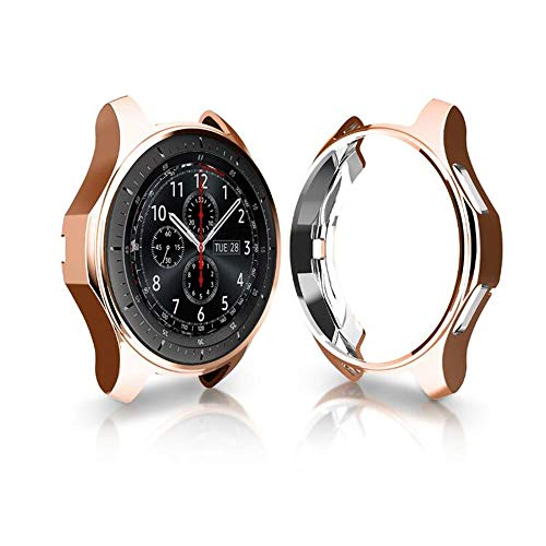 Case Compatible with Samsung Gear S3 Frontier & Classic& S4 Galaxy Watch 46mm, FOLOME Soft TPU Plated [Scratch-Proof] All-Around Protective Bumper Shell (Rose Gold)