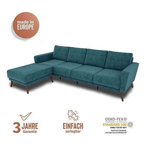 KAUTSCH Lotta Viersitzer Sofa für Wohnzimmer zerlegbar - Couch 4-sitzer - Polstersofa groß - B 260 cm - Longchair Links - Petrol - Holzfüße Farbton Nussbaum