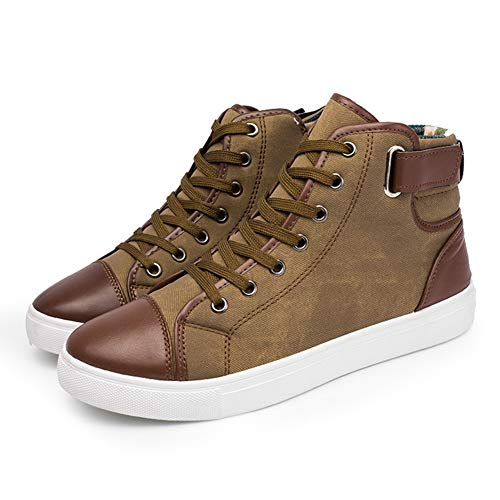 Dastrues Fashion Men Casual High Top Sneakers Shoes, Casual High-Top Skate Shoes, Comfortable and Durable Rubber Sole Oxfords Leather Shoes Lace-up Autumn Winter