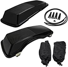 PBYMT Saddlebag Speaker Lids 6x9 Inches Vivid Black Compatible for Harley Davidson Touring Road King Street Electra Glide 1994-2013.