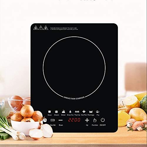 RENXR Placa De Inducción, Cocina De Inducción con Cuerpo Ultrafino, Control Independiente, 10 Niveles De Temperatura, Múltiples Niveles De Potencia, 2200W, Temporizador