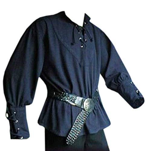 Karlywindow Men's Medieval Lace Up Pirate Mercenary Scottish Wide Cuff Shirt Costume Blue