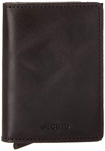 Secrid Men Slim Wallet Genuine Leather RFID Card Case Max 12 Cards, Black, 14mm slim