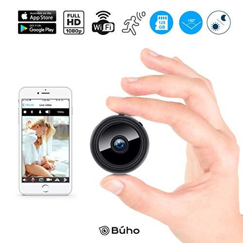BÚHO Mini Cámara Espía Oculta IP,Interior Exterior,1080P Full HD, 150º Gran Angular, Video Remoto Android y iOS WiFi, Sensor Detector de Movimiento IR, Visión Nocturna, Vigilancia Alarma Coche