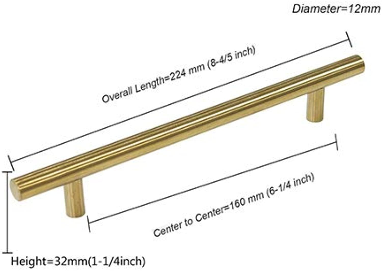 Probrico Cabinet Handle 10PCS Brushed Brass golden Hole Center 2  10   Wardrobe Cupboard Desk Knob Furniture Hardware Drawer Pull  (color  Hole Spacing 160mm)