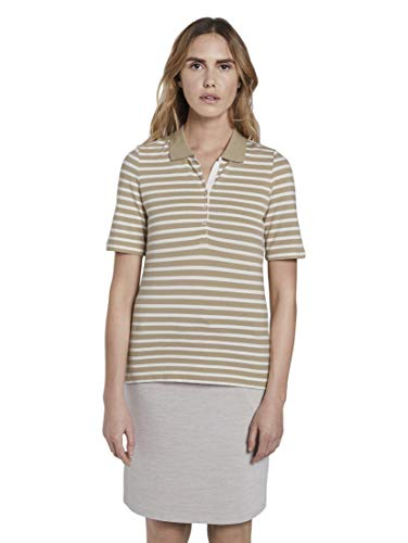 TOM TAILOR Damen Poloshirts Gestreiftes Poloshirt beige Offwhite Stripe,L,23957,8448