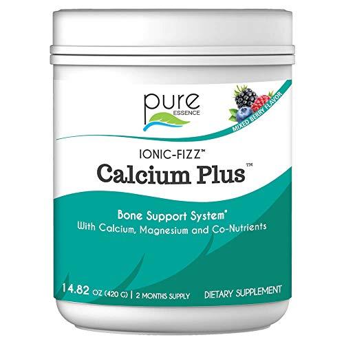 Ionic Fizz Calcium Plus by Pure Essence - Perfect Calcium/Magnesium Ratio with Vitamin A, B, C, D and Potassium Strong Bones - Mixed Berry - 14.82 oz