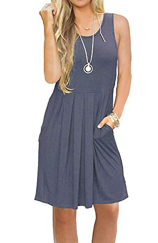 AUSELILY Round Neck Tank Sundresses Beach Cover Up Loose Dress for Women Solid Plain with Pockets Grey Purple Gray S