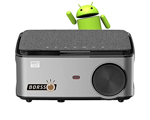 BORSSO® BS28 Android 9, Full HD 1080p Native LED Display 6000 Lumen, 2021 Upgraded Projector 4D Digital Keystone & Zoom, WiFi & Bluetooth