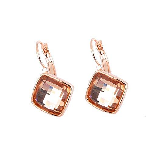 Crystals from Swarovski Pesca leggera Rombo Quadrato Orecchini pendenti Monachella 18 kt placcato oro per donne