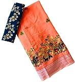 JIYANITEX Women's Pure Chanderi Silk Embroidered Work Saree With Blouse Piece