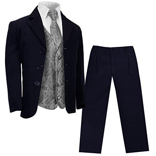 Paul Malone - Festlicher Marine Blauer Kinderanzug (tailliert) + Silber graue Weste mit Krawatte/Hochzeit Kommunion Konfirmation 14
