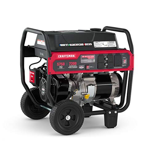 Craftsman 5750 Watt Portable Generator with CO Detection Technology, 7200 Starting Watts 5750 Running Watts, Powered by Briggs & Stratton