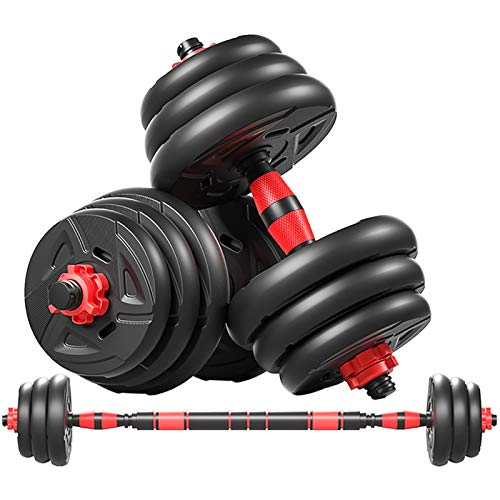 HE-XSHDTT Equipo de Fitness con Barra de protección con Mancuernas Traje de Peso Ajustable combinación Fitness hogar,Red 15 kg