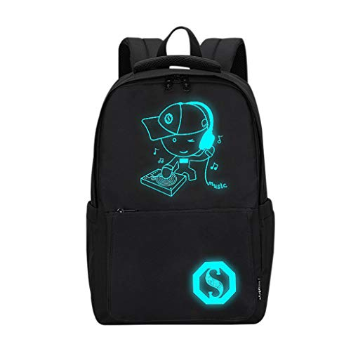 VECOLE Rucksäcke Damen Herren 2019 Neuer Casual High Capacity Lighting Luminous Campus Student Tasche Youth Laptop Luminous Cartoon Schultasche Outdoor Wanderrucksacke(C)