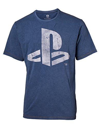 Bioworld EU Męska koszulka z logo Sony PlayStation ze sztucznego dżinsu, średnia (TS551122SNY-M), niebieska (niebieska) (Rozmiar: M)