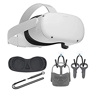 Newest Oculus Quest 2, Advanced All-in-One Virtual Reality Gaming Headset for Family Christmas Holiday, 256GB White, Bundle with TSBEAU Wall Hanger & Kunckle Strap & Lens Protect Cover Set