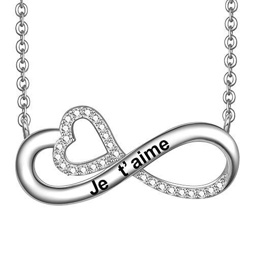 LOVORDS Collier Femme Gravé Je t'aime en Argent 925/1000 Pendentif Infini et Cœur Cadeau Amoureux pour Elle Mère Maman Mamie Fille