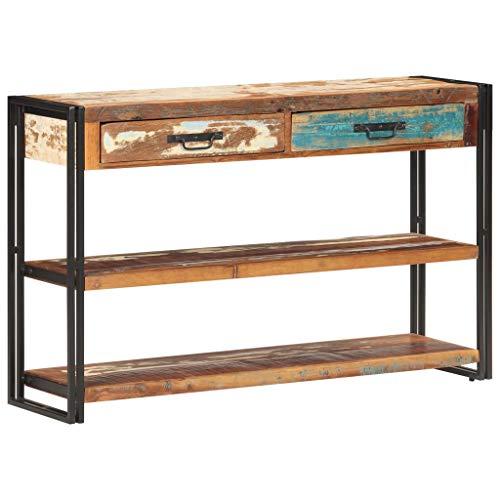 Wakects Aparador, mesa auxiliar, armario de cocina con diseño industrial abierto, para salón, pasillo, consola, estantes y dos cajones, madera maciza reciclada, 120 x 30 x 75 cm