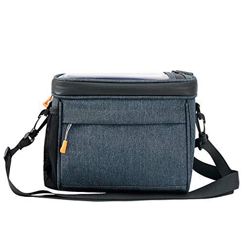 Bolsa de manillar de bicicleta, bolsa de marco de bicicleta, bolsa de teléfono a prueba de agua de gran capacidad, con tapa táctil táctil cubierta de lluvia y correa de hombro desmontable,Beige blue