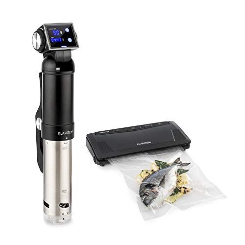 Klarstein Quickstick Pro Foodlocker Silver Set - 2-Teile: Sous Vide Pumpe & Vakuumierer, SousVide: Umwälzpumpe, IPX7, 3D Streamline Heating, 2 Temperatursensoren, 0-90 °C, Edelstahl, schwarz