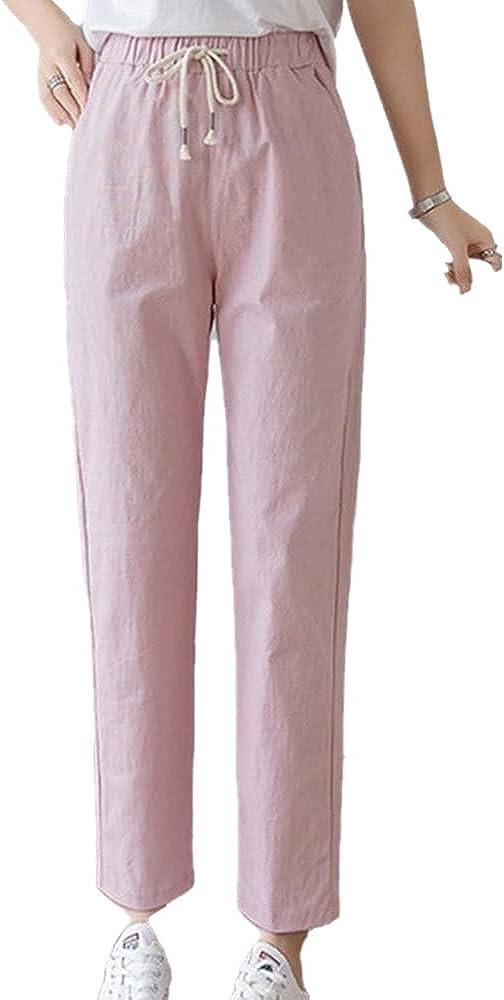 NP Women Casual Spring Autumn Big Long Trousers Waist Pants Ankle Length Haren