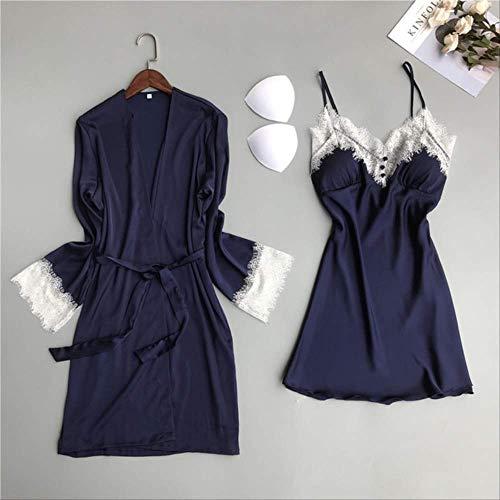 XFLOWR Frauen Nachthemd Sommer und Frühling Damen Seidenfleck 2-teiliges Set Kleid + Mantel Langarm Spitze Popeline Schlafrock Nachtwäsche L Blau
