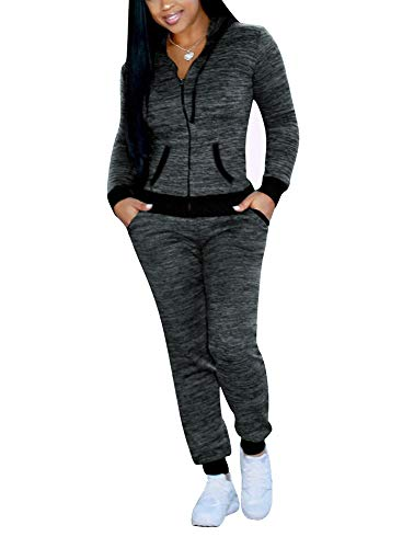 XIAOADAI Women's 2 Piece Sweatsuits Tracksuits Outfits Zip up Hoodie and Sweatpants Jogger Suits (Grey, Small)