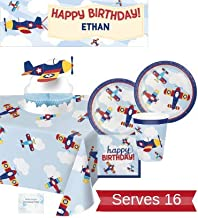 Airplane Party Supplies - Plates Cups Napkins Birthday Banner Tablecloth and Centerpiece for 16 People - Perfect Airplane Birthday Decorations!