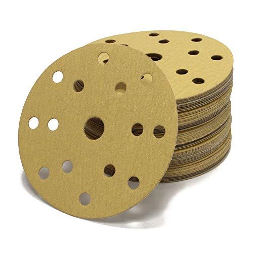 Woltersberger® 50 Stück Exzenter Schleifscheiben Ø 150mm | Körnung P40 | 15 Loch in gold | für optimales schleifen, vielseitig einsetzbar | Klett Schleifpapier Haft