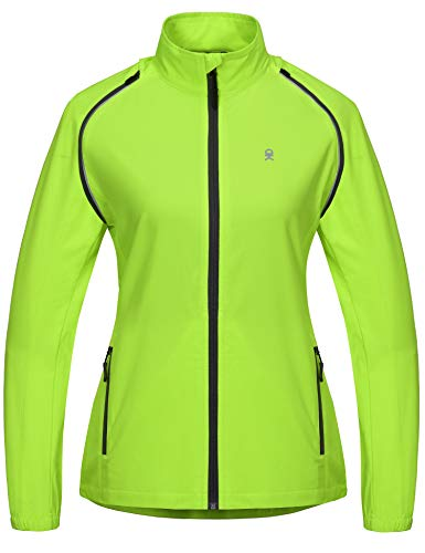 Little Donkey Andy Women's Quick-Dry Running Jacket, Convertible UPF 50+ Cycling Jacket Windbreaker with Removable Sleeves Fluorescent Yellow Size XS