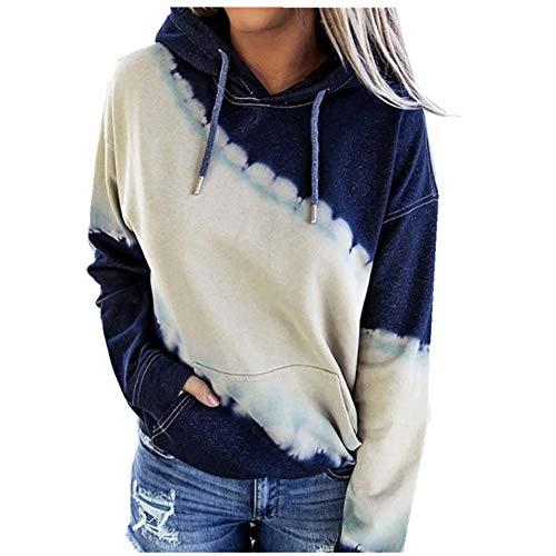 ZALA Sudaderas con Capucha Mujer Tie Dye Sudaderas Suéter Mujer Abrigo Deportiva, Sudaderas con Capucha para Mujer, Tops Ropa otoño Invierno (Blue,XL)