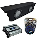 Compatible with 2007-2017 Jeep Wrangler JK Unlimited Harmony Bundle R104 Dual 10' Sub Box & HA-A400.1 Amp