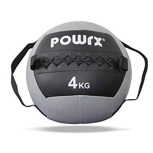 POWRX Wall Ball con Asas Laterales 4 kg - Ideal para Ejercicios de »Functional Fitness«, fortalecimiento y tonificación Muscular - Agarre Antideslizante + PDF Workout (Gris)