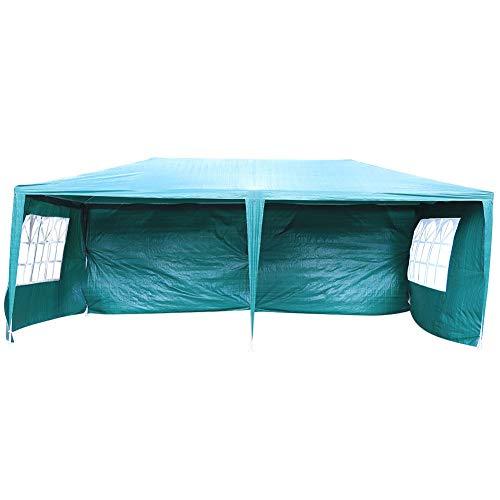 Cikonielf Cenador de Campaña para Fiesta Plegable 3 x 6 M, Resistente a los Rayos UV, Carpa Pabellón con Ventanas, Verde