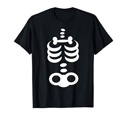 Divertido Esqueleto Disfraz de Halloween Hombre Mujer Niños Camiseta